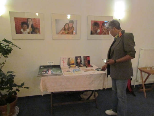 "Ria Cheatom at the booktable at ""Frauenkreise"" in Berlin"