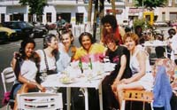 Audre having lunch with friends in Berlin